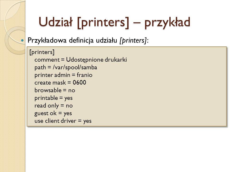 Udział [printers] – przykład